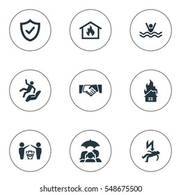 Set Of 9 Simple Insurance Icons. Can Be Found Such Elements As Protect Currency, Safeguard, Heat And Other.