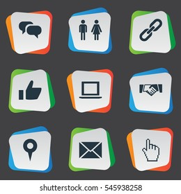 Set Of 9 Simple Internet Icons. Can Be Found Such Elements As Cursor, Chatting, Genus And Other.
