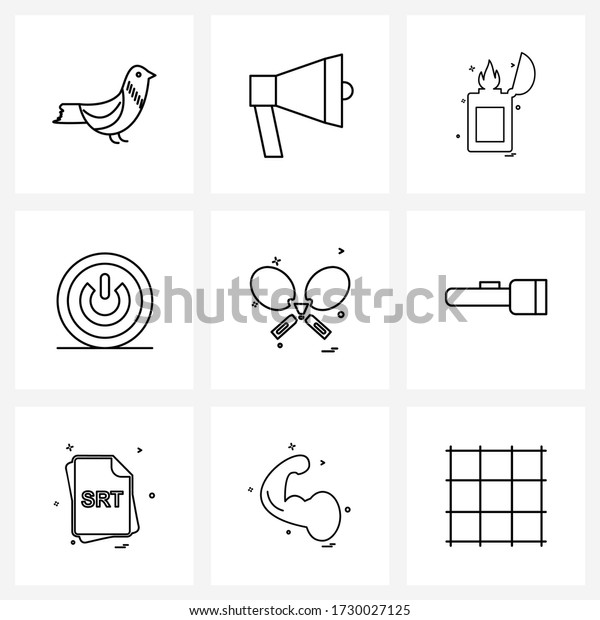 Set of 9 Simple Line Icons for Web and Print such as; racket; fire; games; miscellaneous Vector Illustration