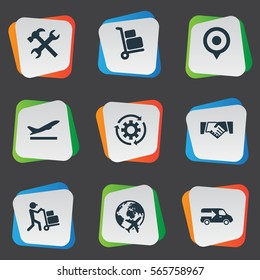 Set Of 9 Simple Logistics Icons. Can Be Found Such Elements As Supporting, Renovation, Employee And Other.