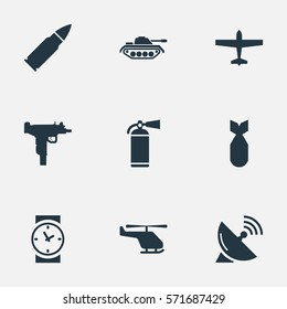Set Of 9 Simple Military Icons. Can Be Found Such Elements As Helicopter, Nuke, Air Bomber And Other.