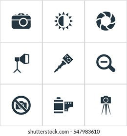 Set Of 9 Simple Photographic Icons. Can Be Found Such Elements As Flame Instrument, Apparatus Photographer, Camcorder And Other.