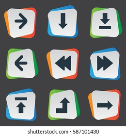 Set Of 9 Simple Pointer Icons. Can Be Found Such Elements As Transfer, Let Down, Left Direction And Other.