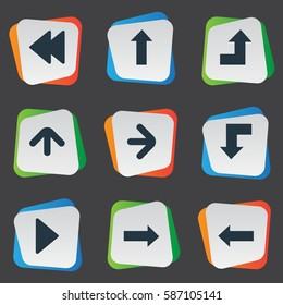 Set Of 9 Simple Pointer Icons. Can Be Found Such Elements As Upward Direction, Left Direction, Reduction And Other.