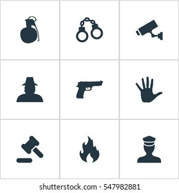 Set Of 9 Simple Police Icons. Can Be Found Such Elements As Volunteer, Explosive, Safety And Other.