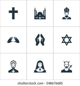 Set Of 9 Simple Religion Icons. Can Be Found Such Elements As Orison, Devil, David Star And Other.
