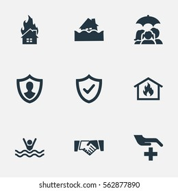 Set Of 9 Simple Safeguard Icons. Can Be Found Such Elements As Reliability, Safeguard, Home Protect  From Fire And Other.