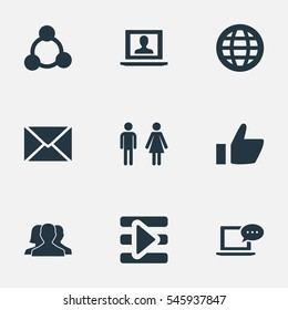 Set Of 9 Simple Social Icons. Can Be Found Such Elements As Web User, Letter, New Mail And Other.