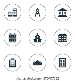 Set Of 9 Simple Structure Icons. Can Be Found Such Elements As Flat, Engineer Tool, School And Other.