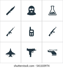 Set Of 9 Simple Terror Icons. Can Be Found Such Elements As Firearm, Terrorist, Cold Weapon And Other.