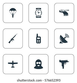Set Of 9 Simple Terror Icons. Can Be Found Such Elements As Terrorist, Watch, Walkies And Other.