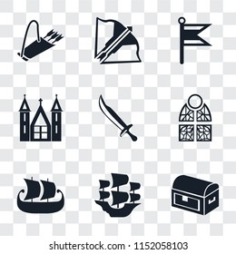 Set Of 9 simple transparency icons such as Chest, Caravel, Ship, Stained glass, Sword, Church, Flag, Crossbow, Quiver, can be used for mobile, pixel perfect vector icon pack on transparent background