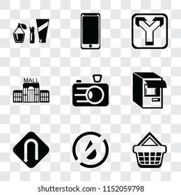 Set Of 9 simple transparency icons such as Shopping basket, No water, Turn, Atm, Camera, Mall, Junction, Smarthphone, Cosmetics, can be used for mobile, pixel perfect vector icon pack on transparent