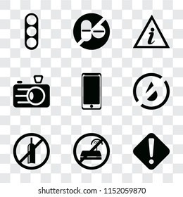 Set Of 9 simple transparency icons such as Warning, No wifi, alcohol, water, Smarthphone, Camera, Information point, drugs, Traffic light, can be used for mobile, pixel perfect vector icon
