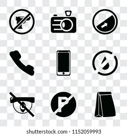 Set Of 9 simple transparency icons such as Paper bag, No parking, Hidden, water, Smarthphone, Telephone, Slope, Camera, Gun, can be used for mobile, pixel perfect vector icon pack on transparent