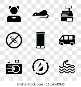 Set Of 9 simple transparency icons such as Wave, No water, Camera, Bus, Smarthphone, drugs, Cashier machine, Rats, Girl, can be used for mobile, pixel perfect vector icon pack on transparent