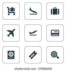Set Of 9 Simple Travel Icons. Can Be Found Such Elements As Global Research, Alighting Plane, Handbag.