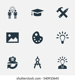 Set Of 9 Simple Visual Art Icons. Can Be Found Such Elements As Academic Cap, Leadership, Image And Other.