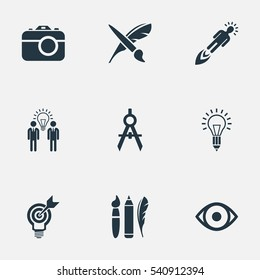 Set Of 9 Simple Visual Art Icons. Can Be Found Such Elements As Brush, Dividers, View And Other.