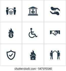 Set Of 9 Simple Warrant Icons. Can Be Found Such Elements As Protect Currency, Heat, Maintenance And Other.