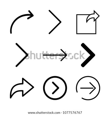 Set Of 9 Skip Outline Icons Such As Next Right Arrow Page