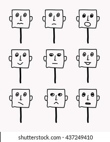 Set of 9 smileys human emotions. Vector illustration.