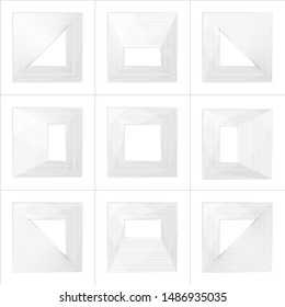 Set of 9 square abstract polygon in linocut style on white background. Graphic design design elements. Vector illustration.