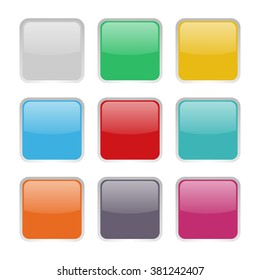 set of 9 square buttons