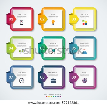 set 9 square templates infographics colorful stock vector royalty