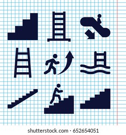 Set of 9 staircase filled icons such as escalator down, ladder, stairs, stair, man climbing stairs, man going up