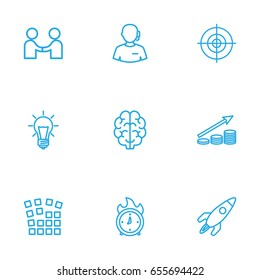 Set Of 9 Startup Outline Icons Set.Collection Of Deadline, Profit, Partnership And Other Elements.