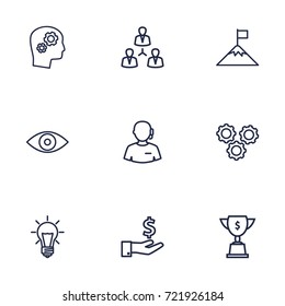Set Of 9 Strategy Outline Icons Set.Collection Of Teamwork, Eye, Idea And Other Elements.