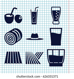 Set of 9 straw filled icons such as field, hay, soda, hat, drink