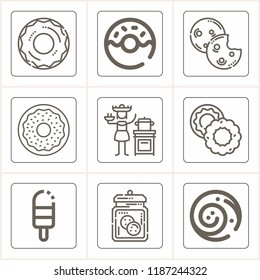 Set of 9 sweet outline icons such as cookies, donut, cookie, cinnamon roll, popsicle, canjica