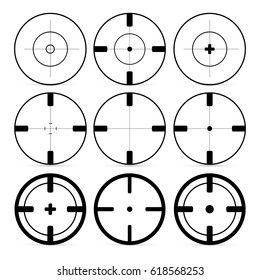 Set of 9 Targets icons in flat style. Crosshair set