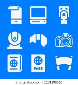 Set of 9 technology filled icons such as webcam, vintage personal computer, photo camera, fingerprint scan, passport, banner, ribbon