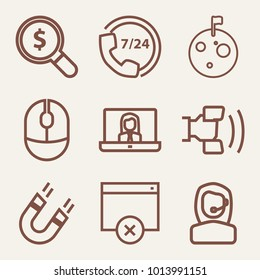 Set of 9 technology outline icons such as moon surface with craters and flag outlined