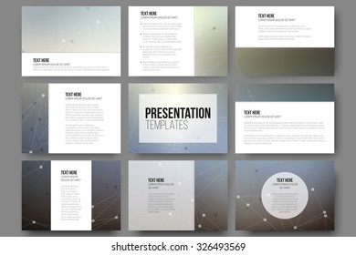 set 9 vector templates presentation slides stock vector royalty