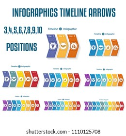 Set 9 templates, Timeline arrows Infographics business conceptual cyclic processes  3, 4, 5, 6, 7, 8, 9, 10 positions possible to use for work flow, banner, diagram, web design, time line, text area
