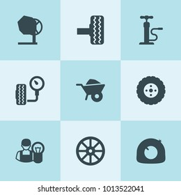 Set of 9 tire filled icons such as whell, wheelbarrow, tire, car electrician, car pump