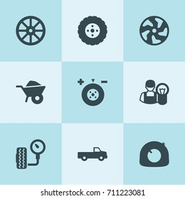 Set of 9 tire filled icons such as whell, wheelbarrow, pickup, tire, wheel balance, alloy wheel
