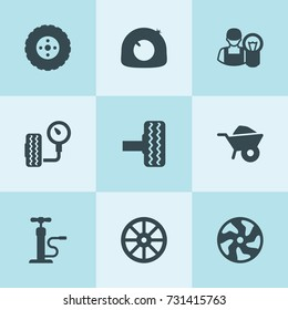Set of 9 tire filled icons such as whell, wheelbarrow, tire, alloy wheel, car electrician