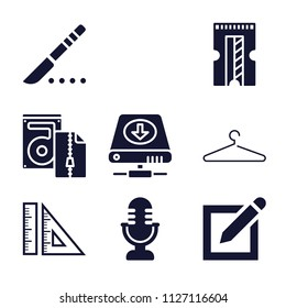 Set of 9 tool filled icons such as mic, measuring and drawing tools, pen on square of paper interface symbol, hanger line, scalpel, comb, harddisk