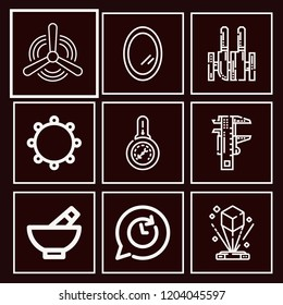 Set of 9 tool outline icons such as hologram, tambourine, mirror, knives, barometer, caliper, clock, turbine