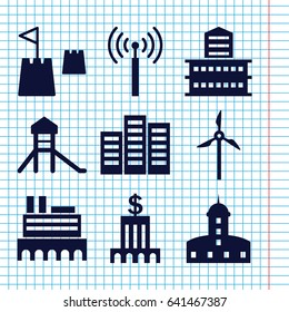 Set of 9 tower filled icons such as signal tower, castle, building, castle tower, mill