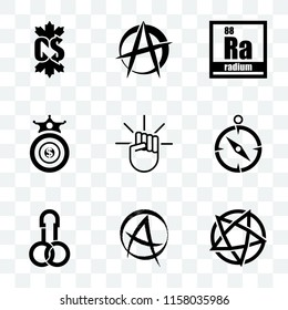 Set Of 9 transparent icons such as devil's, punk anarchy, dick, compas, oligarchy, radium, anarchist, canadian dollar, can be used for mobile, pixel perfect vector icon pack, transparency set