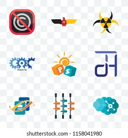 Set Of 9 transparent icons such as neuro, kicker, bookkeeping, dth, pre school, carparts, quarantine, german eagle, no copyright, can be used for mobile, pixel perfect vector icon pack, transparency
