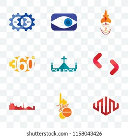Set Of 9 transparent icons such as equinix, 1 year warranty, leipzig hd, SH, church, 360 degree, hanuman ji, neighborhood watch, devops, can be used for mobile, pixel perfect vector icon pack,