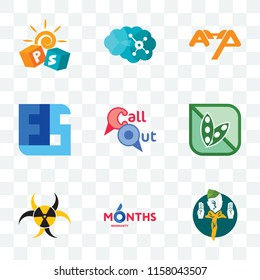 Set Of 9 transparent icons such as boy scout, 6 months warranty, quarantine, soy free, callout, ffs, ahp, neuro, pre school, can be used for mobile, pixel perfect vector icon pack, transparency set