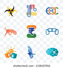 Set Of 9 transparent icons such as neuro, bird, pre school, chainlink, indian rupee, bloodhound, eac, 30th anniversary, quarantine, can be used for mobile, pixel perfect vector icon pack,